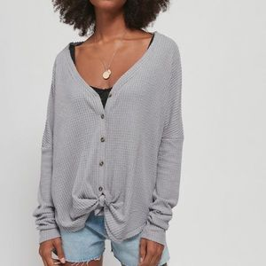 urban outfitters Oversized Thermal Button- Top
